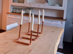 candlestick pipe copper diy kitchen minimal industrial candle candles table living room home etsy