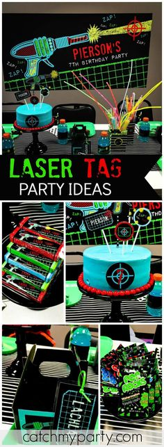 Check out this awesome laser tag birthday party! See more party ideas at CatchMyParty.com!