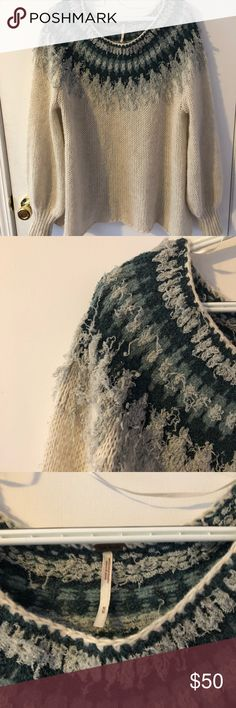 Free people M knitted sweater Big comfy sweater Icelandic style knitted very warm not too bulky very breathable and lightweight great quality only worn 2 times Free People Sweaters Crew & Scoop Necks