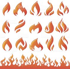 Collection of fire elements royalty-free stock vector art