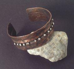 Modern Cuff bracelet copper silver balls by ShillyShallyjewelry, $40.00