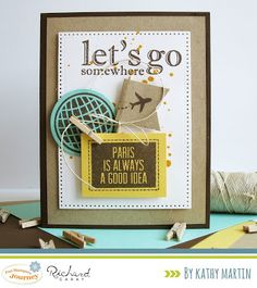 Let's Go Somewhere by Kathy Martin for Journey Blooms using Fun Stampers Journey stamps and dies. Travel Cards, Letting Go, Card Stock, Birthday Cards, Greeting Cards, Bloom, Paper Crafts, Journey, Crafty