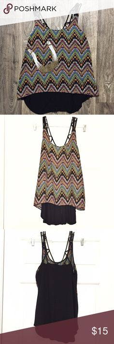 Forever 21 Top Forever 21 top in Aztec triangle print. The back is all black and slightly longer than the front for a good fit over leggings. It has criss-cross straps. Forever 21 Tops Tunics