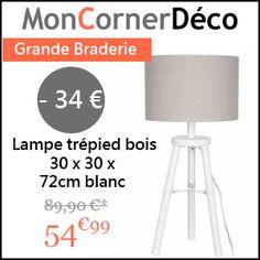 #missbonreduction; Grande Braderie: remise de 34€ sur la Lampe trépied bois 30 x 30 x 72cm blanc chez Mon corner déco. http://www.miss-bon-reduction.fr//details-bon-reduction-Mon-corner-d%e9co-i855432-c1829493.html