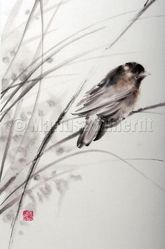 LITTLE BIRD in the garden tree branch sumie by Asianature on Etsy, $206.00