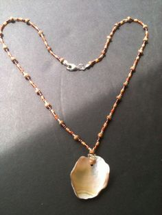Sale Beaded necklace with polished stone piece on Etsy, $11.00