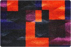 Amazon.de: DECO-MAT │ MODERNE / VIOLETT-ORANGE │ Rutschfeste Fussmatte / Türmatte 40 x Designer, Quilts, Blanket, Orange, Yellow, Blankets, Patch Quilt, Kilts, Log Cabin Quilts