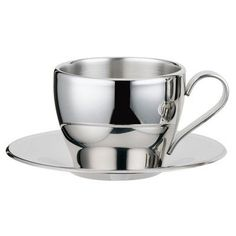Visol Products Stainless Steel Double Walled Capuccino Cup with Saucer