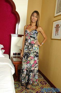 "Slim & sexy TS babe ""Yoyo"" in a summer dress! #ladyboys #tgirls #shemale #tranny #kathoey"