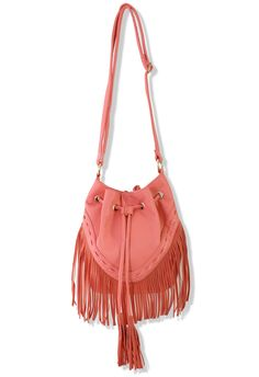 Boho Spirit Tassel Bucket Bag in Pink - New Arrivals - Retro, Indie and Unique Fashion