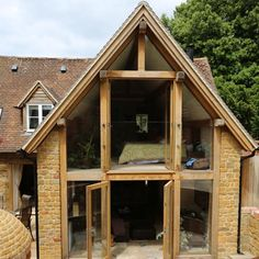 The Design Centre Green Oak Extension to Listed Cottage. Something like this, but than hempcrete and rooflights for my cottage in the woods HM Extension Veranda, Cottage Extension, Glass Extension, Extension Ideas, Oak Frame House, A Frame Cabin, Timber Frame Houses, Oak Framed Extensions, House Extensions