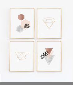 Scandinavian Modern Copper Wall Art Prints Geometric Abstract Poster with Marble Blush Diamond Print Hexagon