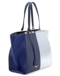 ... 3Jours Tote Bag in Dark Blue and Silver Saffiano Leather Handbag Purse