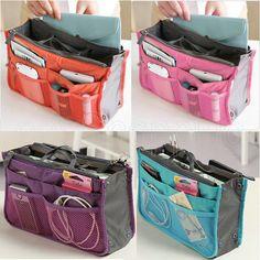 New Multi-Function Handbag Organizer Storage Makeup Bag Insert Pocket 8 Color Diy Bags Organizer, Purse Organizer Pattern, Handbag Organizer, Makeup Storage Bag, Makeup Bag Organization, Diy Storage, Hobo Purses, Purses And Bags, Bag In Bag