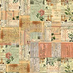 Vintage paper ephemera, text and flowers collage by Jodielee, via Dreamstime