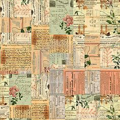 Vintage paper ephemera, text and flowers collage by Jodielee, via Dreamstime