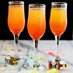 Kid Friendly/No-Alcohol! Chilled peach nectar Chilled sparkling applecider 1 teaspoon grenadine
