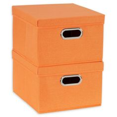Tuck away all of your essentials with these Household Essentials Collapsible Storage Bins. Large enough to hold sweaters, linens, crafts, and more, these fabric bins stack easily on top of each other to keep your things clean and within reach. Storage Bins With Lids, Fabric Storage Boxes, Cubby Storage, Fabric Boxes, Linen Storage, Tangerine Color, Thing 1, Orange Fabric, Box With Lid