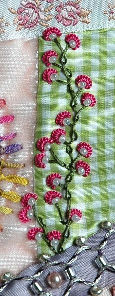 "great stitching - Detail 32 -- from 100 Details in 100 Days with Sharon Boggon. It's called ""alternating barred chain"" stitch with cast-on stitch flowers."