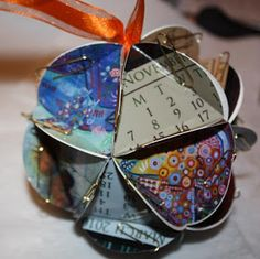 Artist Kristen Stein : Art, News, Recent Works and More: Paper Globe Ornament or Centerpiece (Great way to recycle old Calendars, Cards, or Photos)