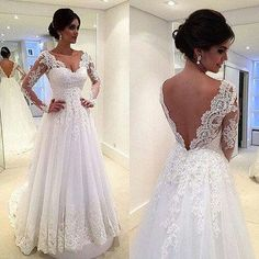 Long Sleeves White Lace Wedding Dresses V Neck Beach Wedding Dress Bridal Gowns