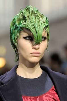 Click this image to show the full-size version. Pat Mcgrath, Prada, Runway Hair, Leather Headbands, Editorial Hair, Laura Biagiotti, Modern Hairstyles, Blow Dry, Hair Art