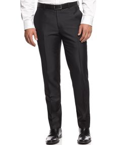 Bar Iii Slim-Fit Black Textured Pants