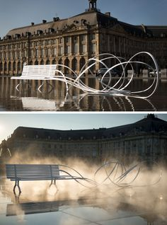 As part of the Agora Biennale of Architecture, Urbanism and Design, designer and artist Pablo Reinoso has created an installation of seven sculptures as part of his Spaghetti Benches series. #Furniture #Design #ArtInstallation #Sculptural