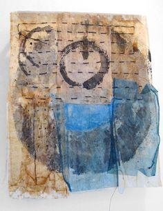 Louise Strawbridge - The way of tea (used tea bags, encaustic wax, ink, thread)