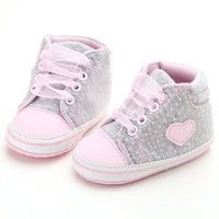 Cheap shoes toddler, Buy Quality toddler shoes directly from China first walker shoes Suppliers: Infant Newborn Baby Girls Polka Dots Heart Autumn Lace-Up First Walkers Sneakers Shoes Toddler Classic Casual Shoes Toddler Girl Shoes, Toddler Sneakers, Baby Sneakers, Kid Shoes, Girls Shoes, Toddler Girls, Ankle Sneakers, Infant Girls, Canvas Sneakers