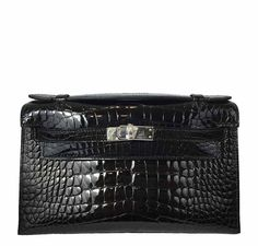 ec9398c48f19 Hermès Kelly Mini Pochette Black Crocodile Bag PHW
