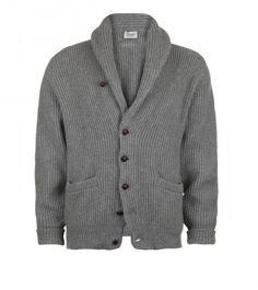 Grey Four Ply Cashmere Shawl Collar Cardigan | Drake's