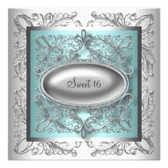 Silver White Teal Blue Sweet 16 Party Personalized Invites