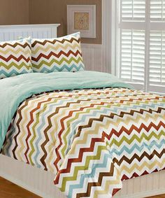 Taup & Blue Chevron Printed Bedding Set #zulily #zulilyfinds #thro #throbyml #marlolorenz #bedding #kids #chevron #style #design #fun #like #love #shop #share #follow #buy #gifts #redecorate #home #bedroom