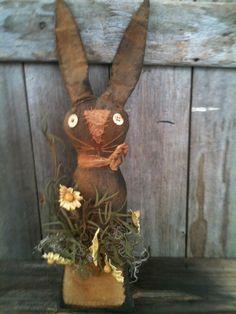 Primitive Folk Art Black Bunny Shelf Sitter Pocket Tea Stained Daisies Easter #BlackFolkArt
