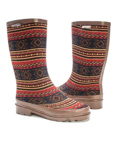 Look at this Cognac Fair Isle Anabelle Rain Boot - Women on #zulily today!