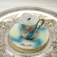 Aqua Pink Fly Teacup Altered vintage China Chase by AustinModern, $38.00