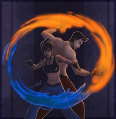 Legend of Korra - Korra and Mako. This one is super shipped! Let it set sail forever! Avatar Show, Avatar Series, Team Avatar, Korra Avatar, Korrasami, Kaichou Wa Maid Sama, Fire Nation, Animation, Fandoms