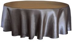 "120"" Round Heavy Duty Satin Seamless Tablecloth -Pewter(1pc/pk)"