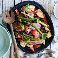 Barbecued lamb and olive panzanella recipe Healthy Baking, Healthy Recipes, Savoury Recipes, Healthy Dinners, Healthy Food, Barbecued Lamb, Eat Your Books, Spring Recipes