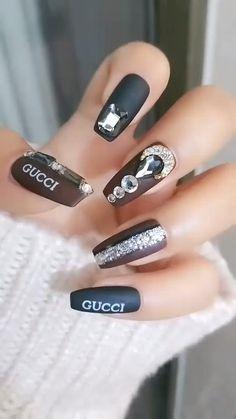 Halloween Acrylic Nails, Cute Acrylic Nails, Acrylic Nail Designs, Cute Nails, Pretty Nails, Gel Nails, Manicure, New Year's Nails, Nail Art Designs Videos
