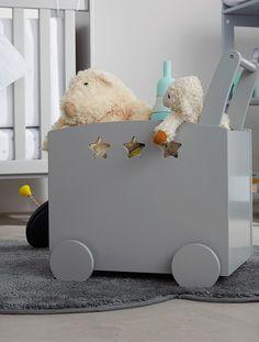 Fahrbare Spielzeugkiste mit Sternen GRAU+ROSA+WEIß // Vertbaudet
