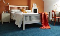 Decorating with blue carpet + orange Daigle's Digs Blue Carpet Bedroom, Blue Bedroom Decor, Bedroom Wall Colors, Bedroom Ideas, Floor Paint Design, Carpet Design, Carpet Decor, Wall Carpet, Carpet Ideas