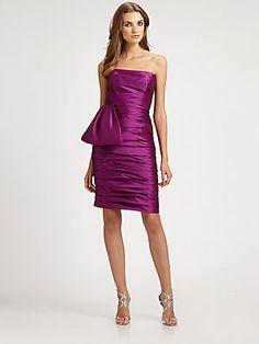 ML Monique Lhuillier Strapless Taffeta Dress