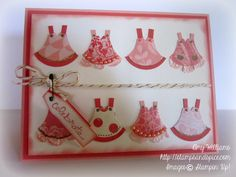 stampin up owl punch, baby dresses, handmade card, stamping