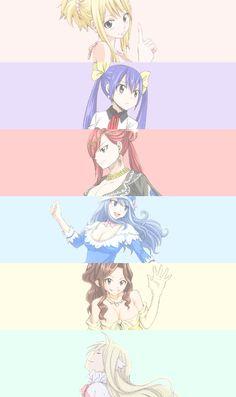 color, erza scarlet, fairy tail, girls, juvia lockser, lucy heartfilia, cana alberona, wendy marvell, fairy tail juvia, fairy tail girls, mavis vermillion, fairy tail lucy, fairy tail erza, fairy tail wendy, anime, ️anime girls, fairy tai