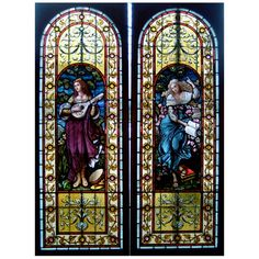 Stained Glass Windows, muses of literature and music - Canadian, late 19th century. Originally from the concert hall/ballroom, from the largest home built in Guelph, Ontario circa 1895.