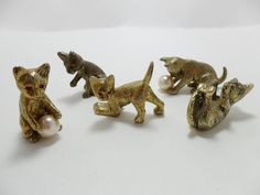 Vintage SET OF 5 Brass Miniature Cats Kittens Faux by KathiJanes, $24.95