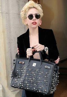 lady gaga hermes leather studded tote replica