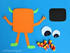 Make some scary candy corn monster crafts with your kids! This is the perfect Halloween art project to make with them.